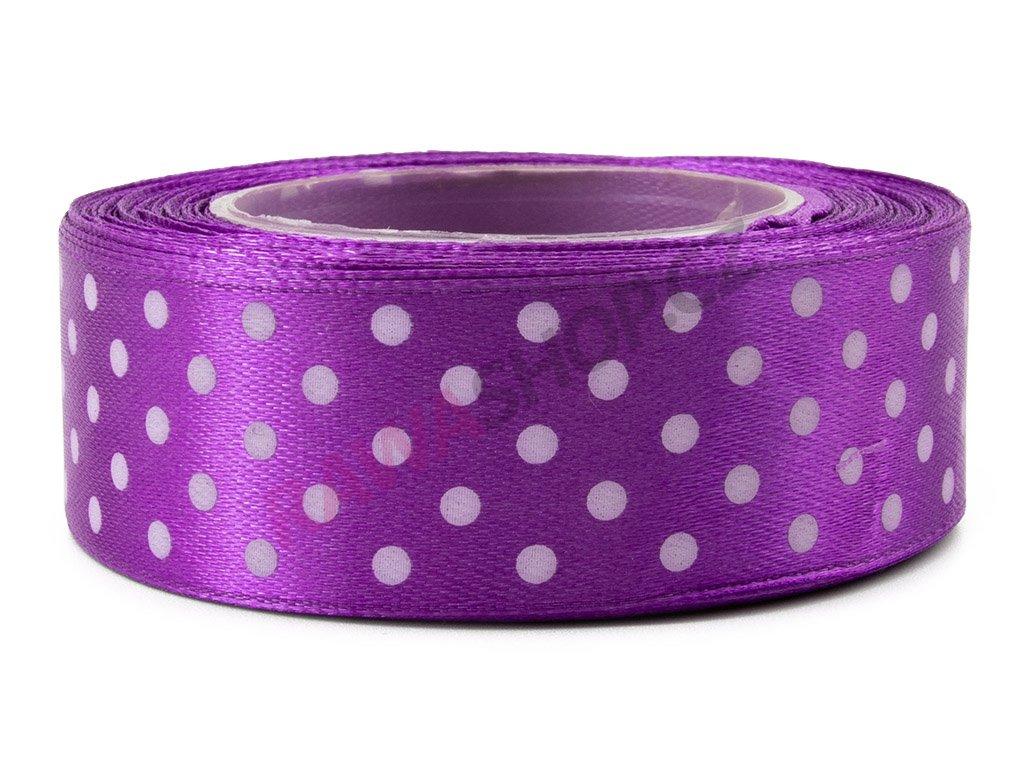 Saténová tečkovaná stuha 2,5cm - violet