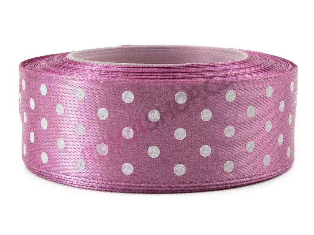 Saténová tečkovaná stuha 2,5cm - carmine pink