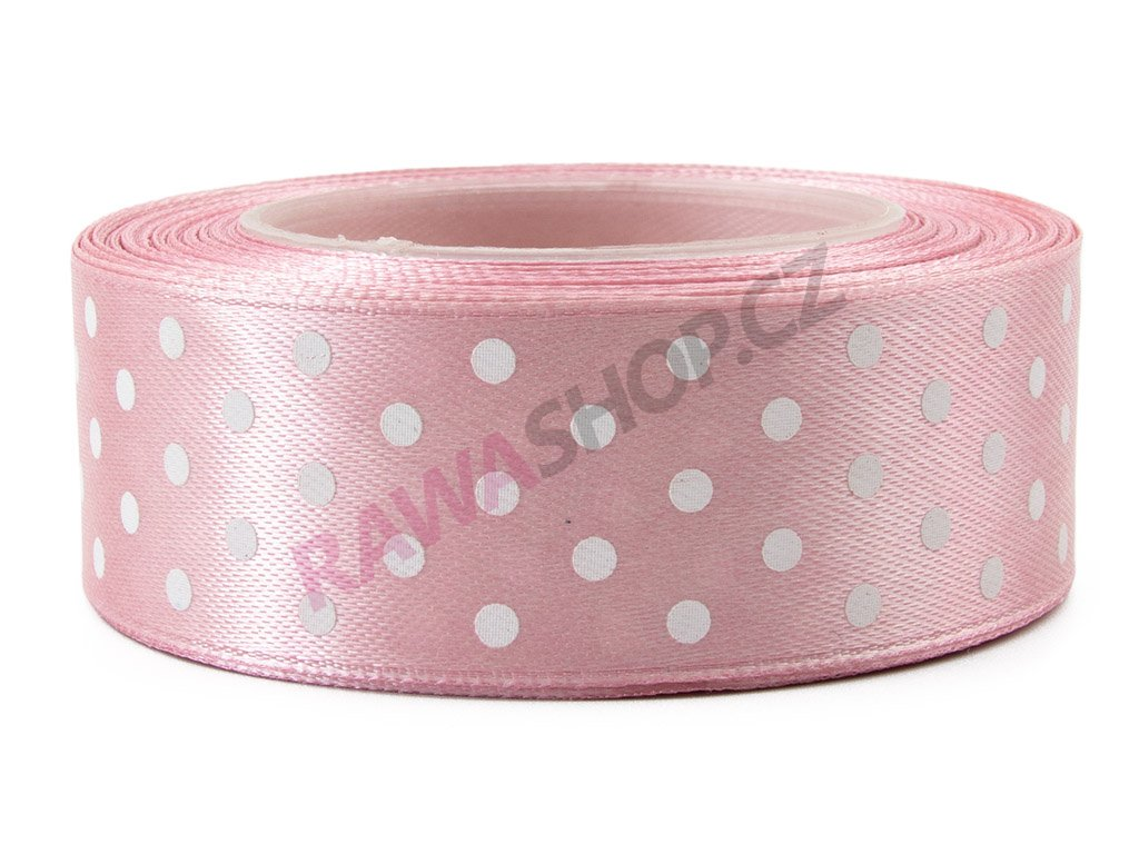 Saténová tečkovaná stuha 2,5cm - mat pink