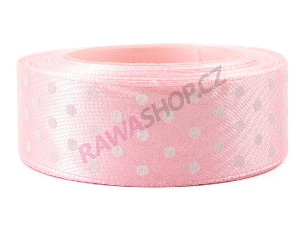 Saténová tečkovaná stuha 2,5cm - lt. pink