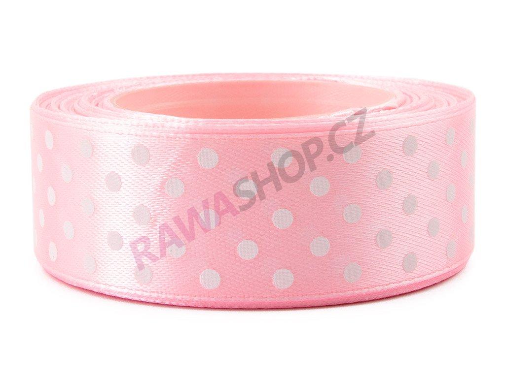 Saténová tečkovaná stuha 2,5cm - pink