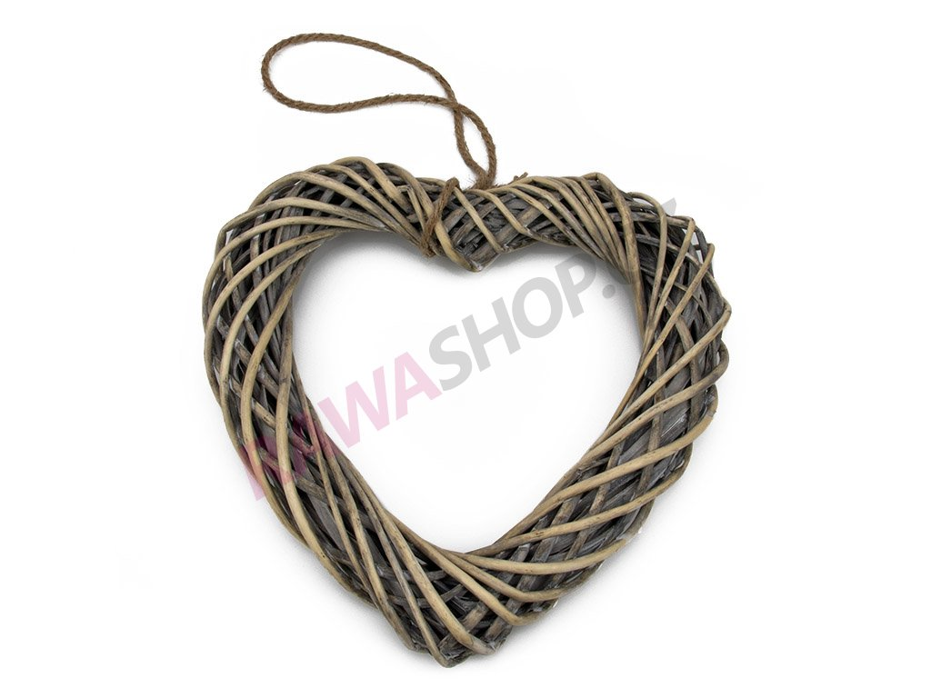 Proutěný závěsný věnec srdce 30cm - šedá