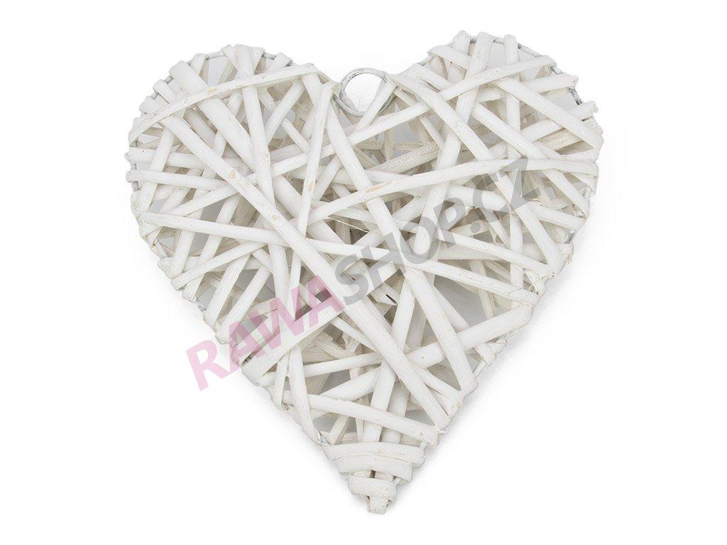 Proutěné srdce 20cm - bílé