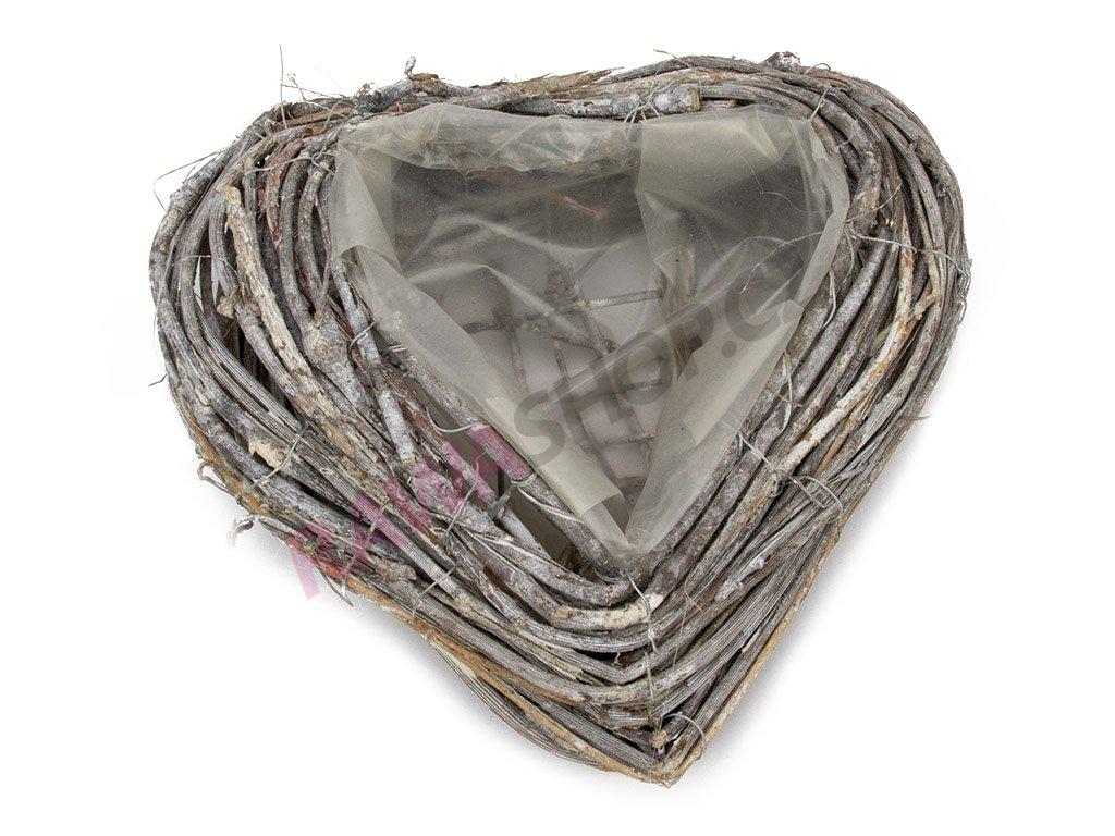 Obal srdce 20cm - šedá