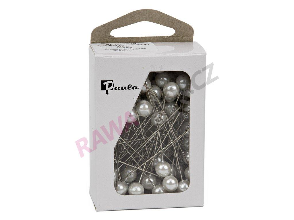 Špendlíky s perličkou 10mm - bílá