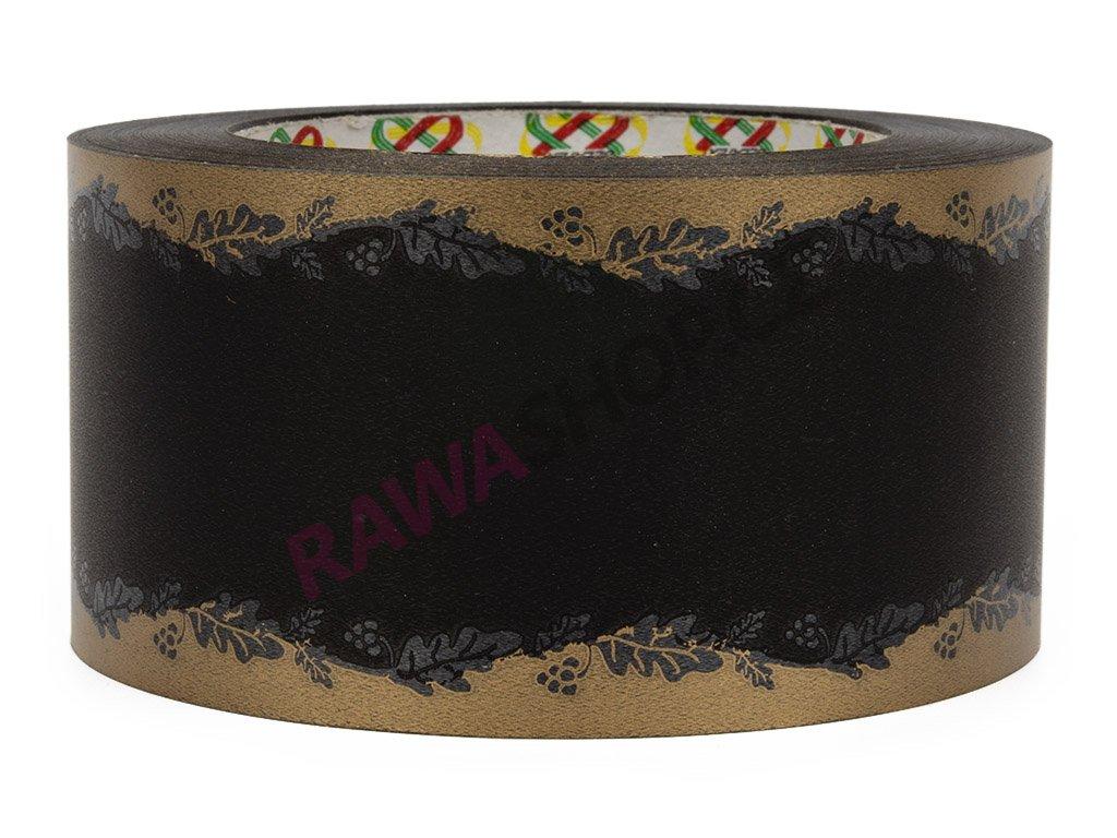Smuteční stuha s hroznovým vínem 6cm - černá