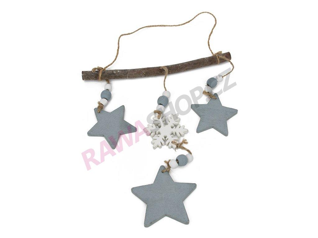 Závěs s hvězdami - šedá