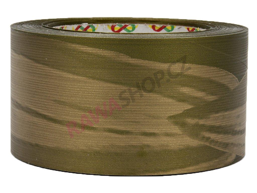 Smuteční stuha 6cm list - zlato-olivová