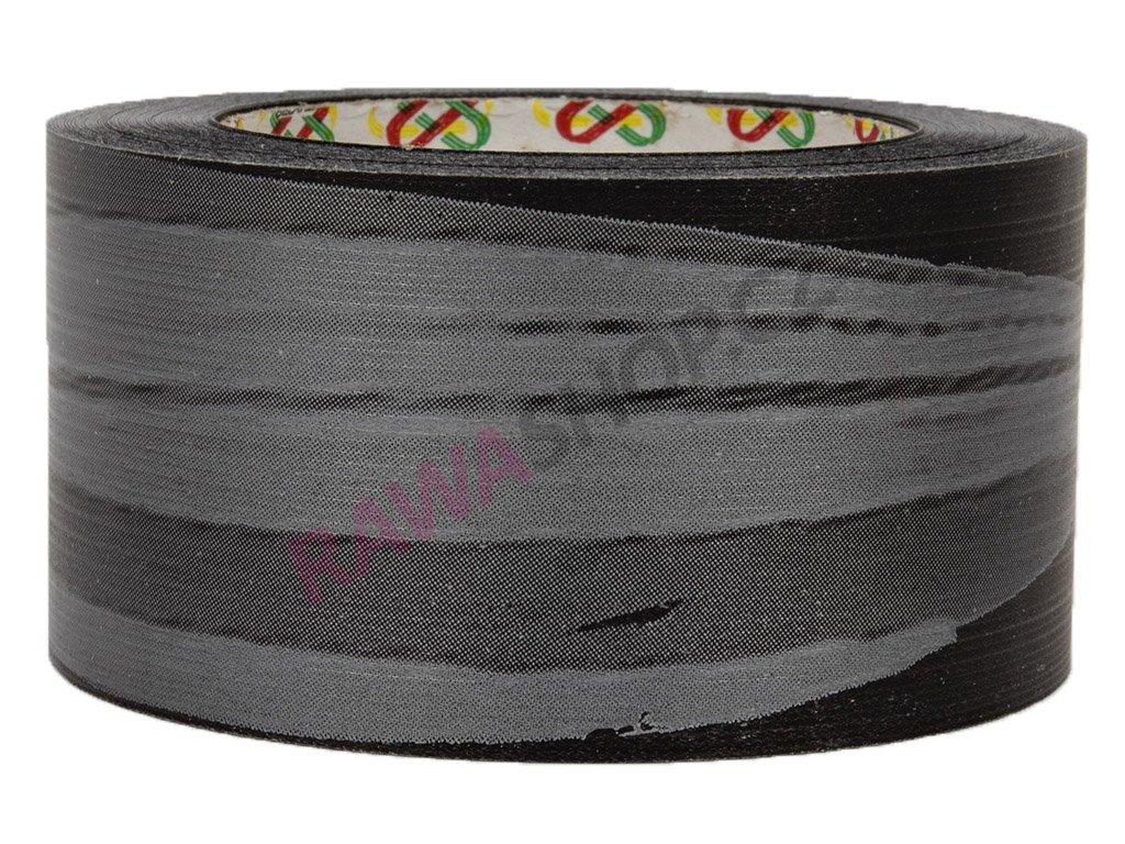 Smuteční stuha 6cm list - černo-stříbrná