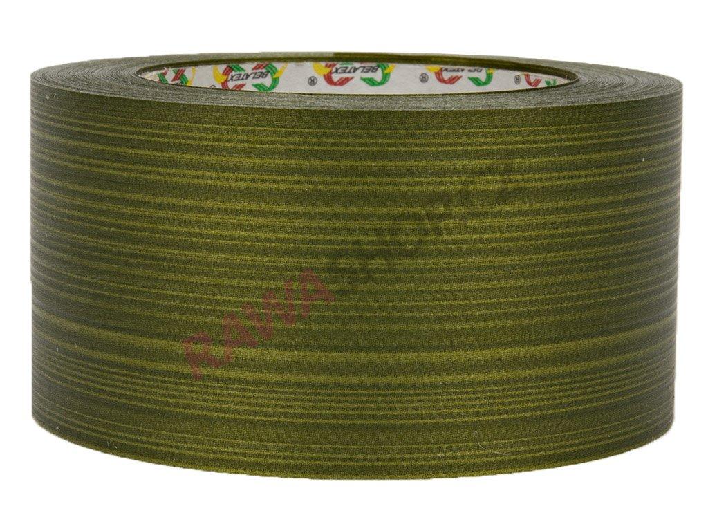 Smuteční stuha 6cm s pruhy - olivová