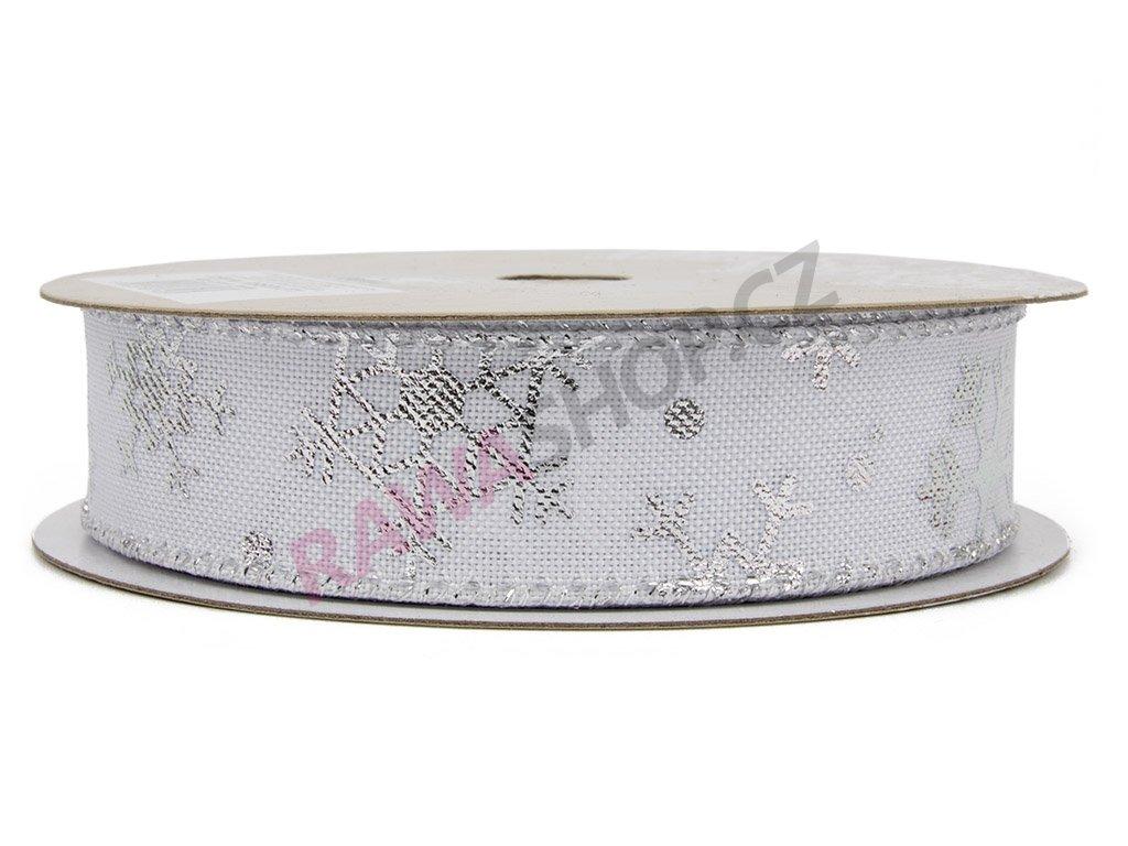 Bavlněná stuha vločky 2,5cm -  bílá 2