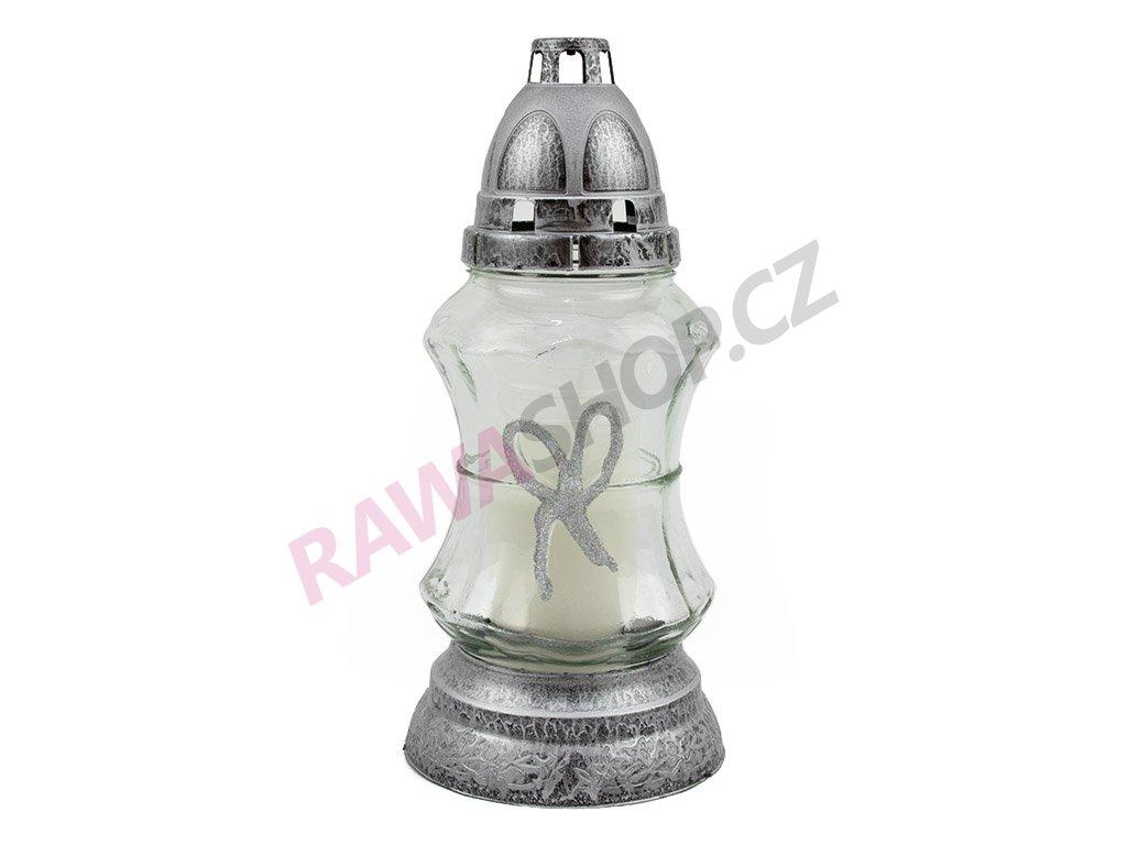 Skleněná svíčka s mašličkou 25 cm 6ks