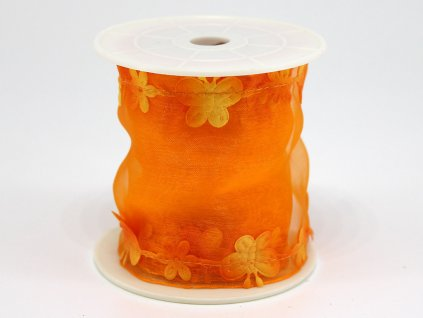 Stuha s motýlkem - oranžová