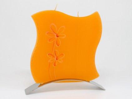 Plochá svíčka Flower vlnka - oranžová