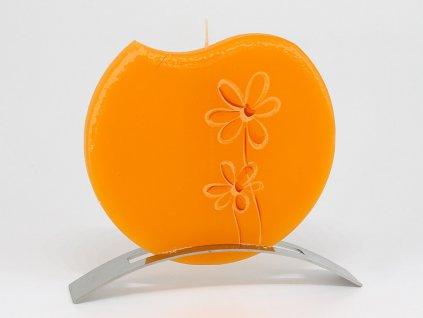 Plochá svíčka Flower kulatá - oranžová