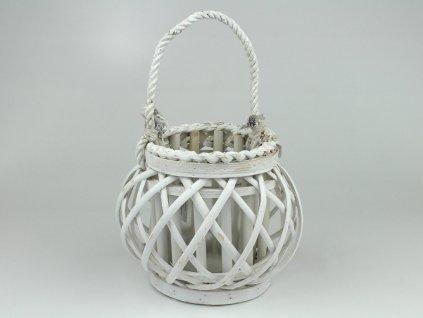 Proutěná lucerna koule - bílá