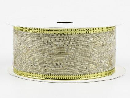 Bavlněná stuha 4cm - ecru-golden