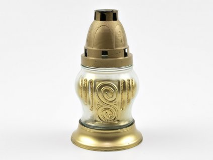Skleněná svíčka 15cm zlatá - 10ks