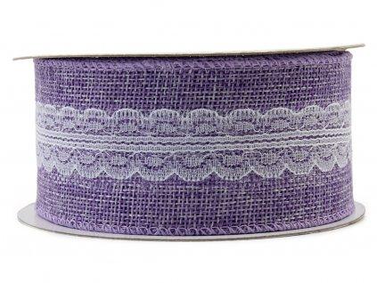 Jutová stuha s krajkou 5cm - fialová