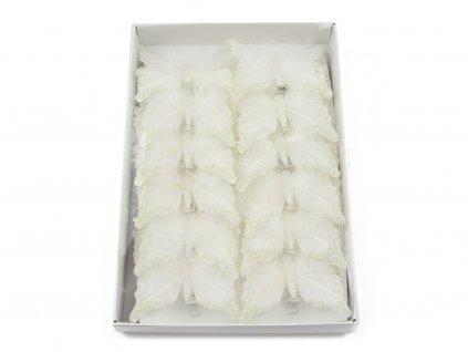 Motýlci 12ks - bílá s perličkama