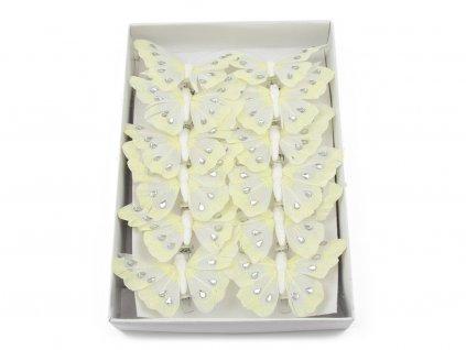Motýlci 12ks - bílá s kamínky