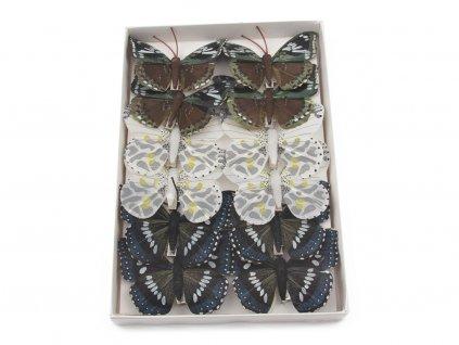 Motýlci 12ks - černá/bílá