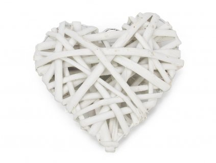 Proutěné srdce 15cm - bílé