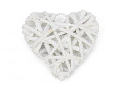 Proutěné srdce 10cm - bílé