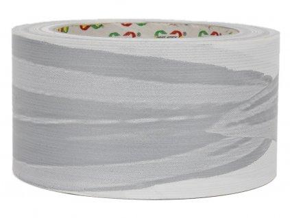 Smuteční stuha 6cm list - bílo-stříbrná