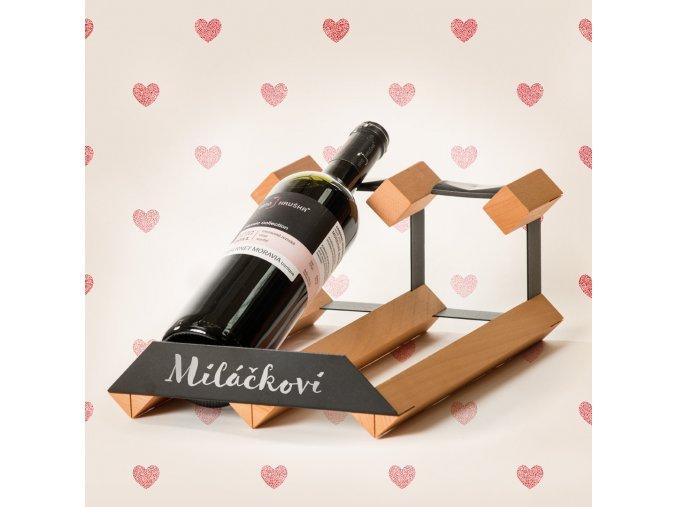 Pultový stojan na víno s kapacitou 2 lahve
