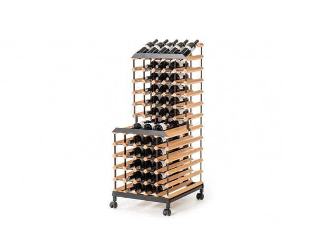 394 pojizdny stojan na vino s kapacitou 90 lahvi