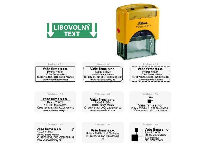 Samonamáčecí razítko Shiny S-844 59x23mm - FIREMNÍ (Barva inkoustu ZELENÁ, Barva strojku ZELENÁ)