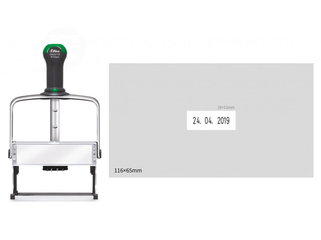 razitko shiny stamp datumove hm 6115 eco antibac kovove s textem nahled