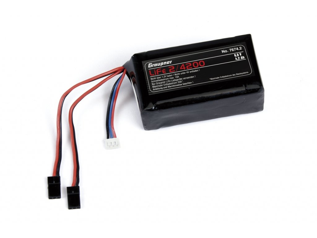 LiFe-sada RX 2/4200 6,6V s JR konektorem 2x