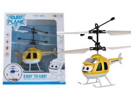 Mini helikoptéra - žlutá ovládaná pohybem ruky a dálkovým ovladačem