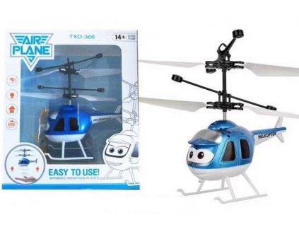Mini helikoptéra - modrá ovládaná pohybem ruky a dálkovým ovladačem