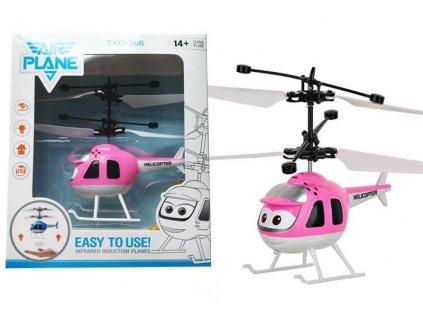 Mini helikoptéra - růžová ovládaná pohybem ruky a dálkovým ovladačem
