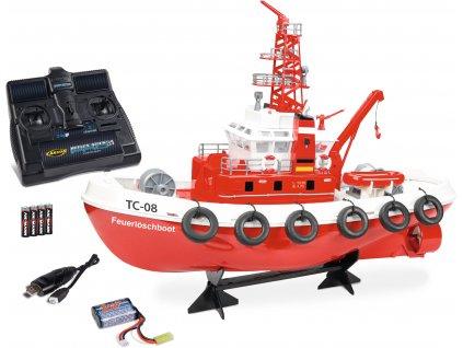 Hasičská loď Feuerlöschboot TC-08 s funkčním vodním dělem RTR sada