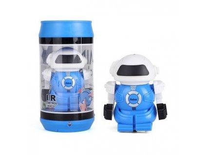 MINI ROBOT v cestovní plechovce, IR ovládání, modrý