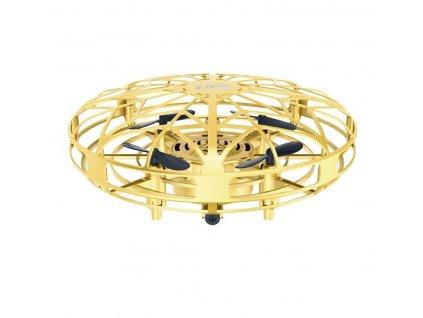 Mini UFO dron JY803 ovladatelný pouze rukou, senzory proti nárazu, RTF, zlatá metalíza