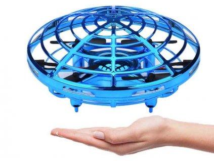 Dron UFO mini-dron ovládaný rukou, senzory proti nárazu, RTF, modrý