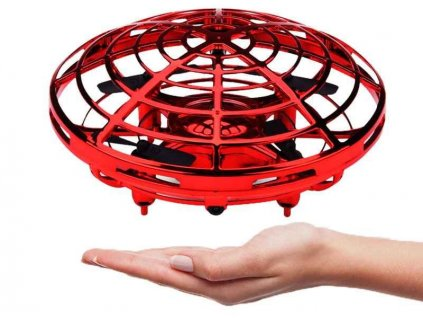 Dron UFO mini-dron ovládaný rukou, senzory proti nárazu, RTF, červený