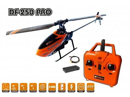 DF-250 PRO jednorotorový 4ch heli s barometrem, FLYBARLESS, AUTO start/přistání, RTF