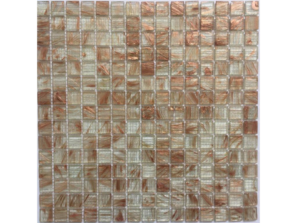 Skleněná mozaika bílá čirá žíhaná