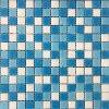 Skleněná mozaika světle modro bílá bazénová
