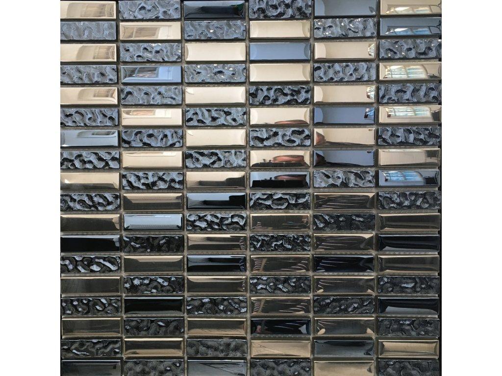 Mozaika černá sklo-kov MMS704