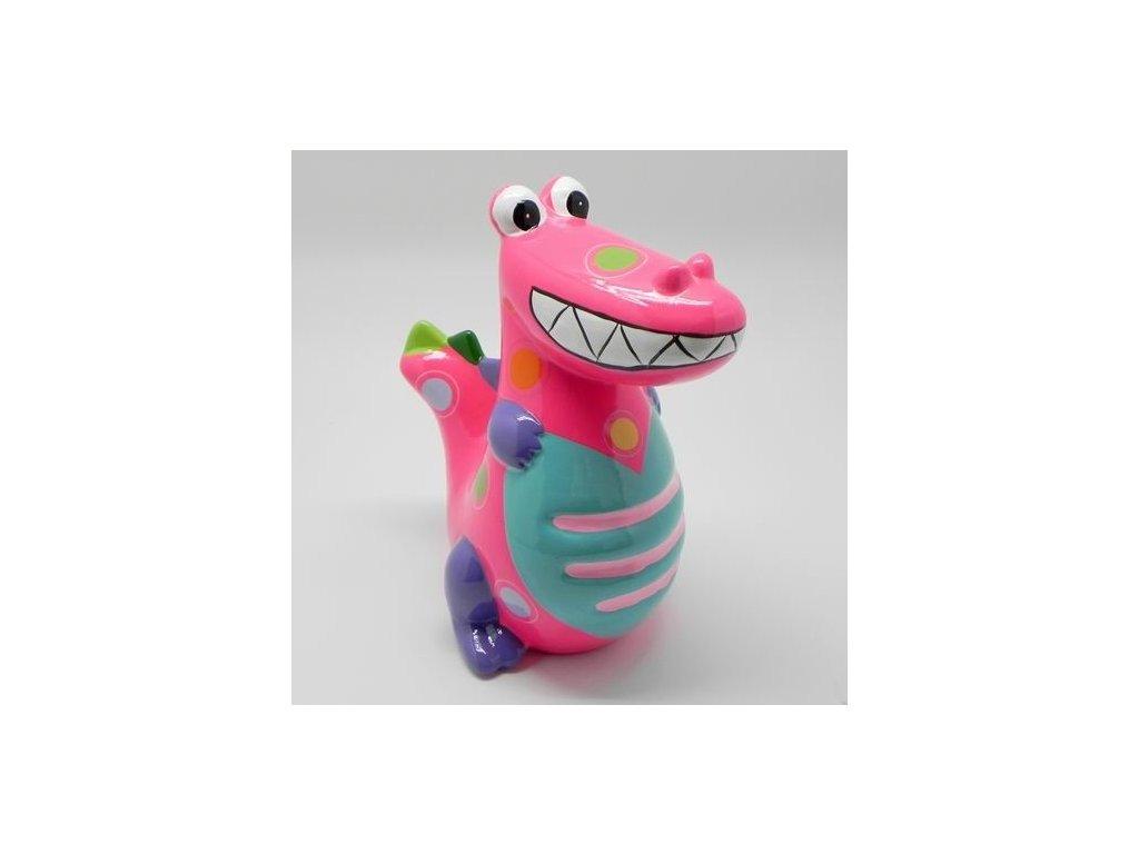 dinosaurus pokladnicka keramika ruzova