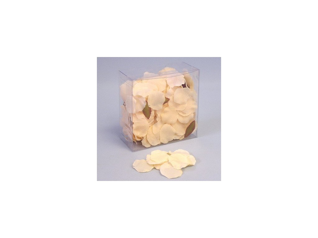 okvetni listky ruze textil 330ks pvc box krem