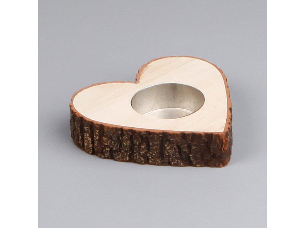 svicen srdce drevo 10cm natural