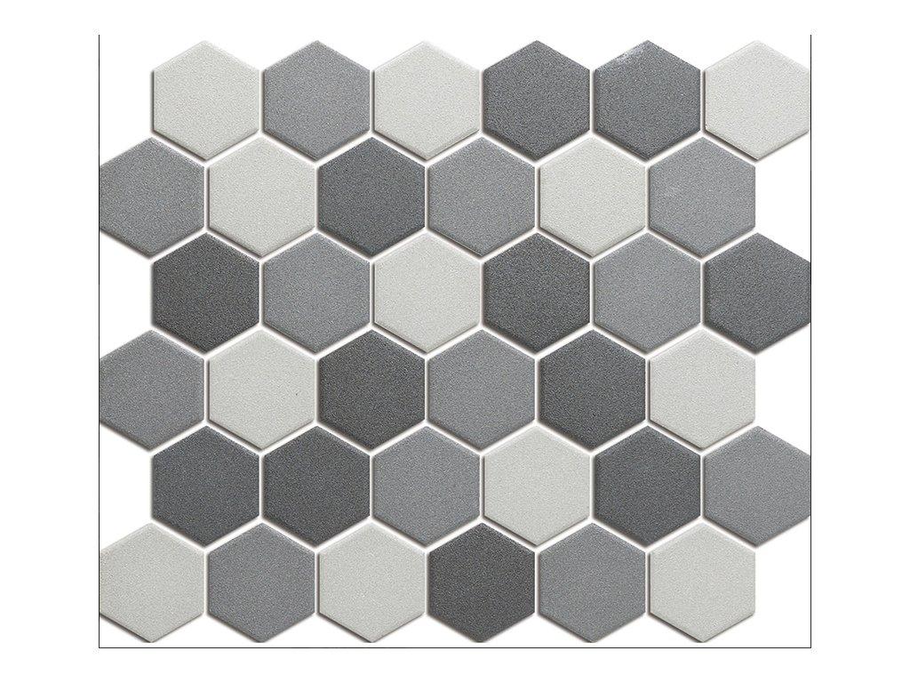 Hexagon grey mix mat 51x59 280x325 mm